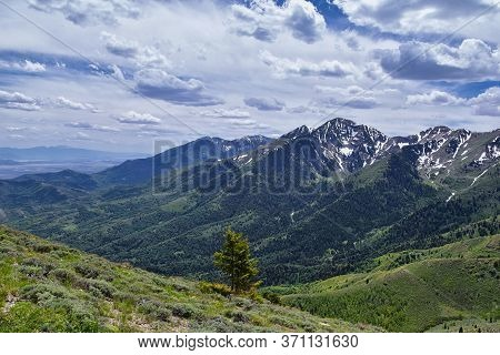 Rocky Mountain Wasatch Front Peaks, Panorama Landscape View From Butterfield Canyon Oquirrh Range To