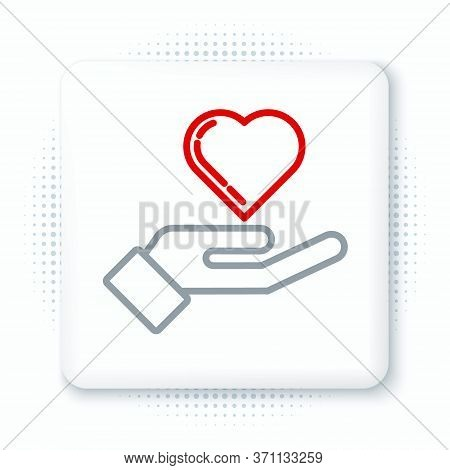 Line Heart On Hand Icon Isolated On White Background. Hand Giving Love Symbol. Colorful Outline Conc