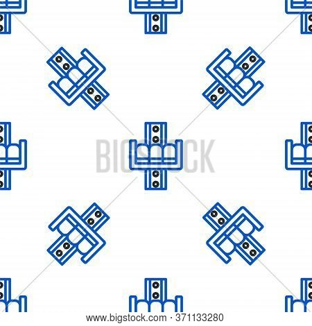 Line Attraction Carousel Icon Isolated Seamless Pattern On White Background. Amusement Park. Childre