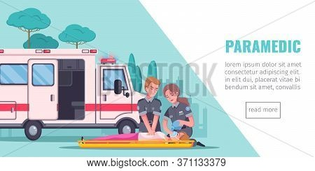 Paramedic Emergency Ambulance Horizontal Banner With Editable Text Read More Button And Cartoon Imag