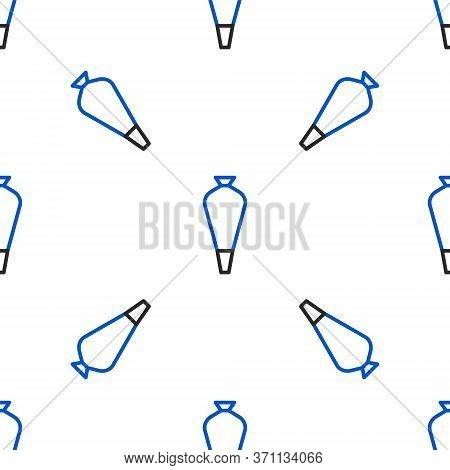Line Pastry Bag For Decorate Cakes With Cream Icon Isolated Seamless Pattern On White Background. Ki