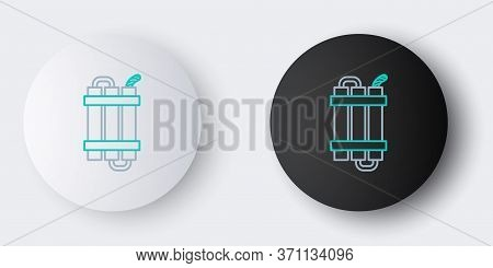 Line Detonate Dynamite Bomb Stick And Timer Clock Icon Isolated On Grey Background. Time Bomb - Expl