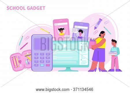 Mum And Kid Buying School Gadgets Computer Calculator Phone Stationery Flat Vector Illustration