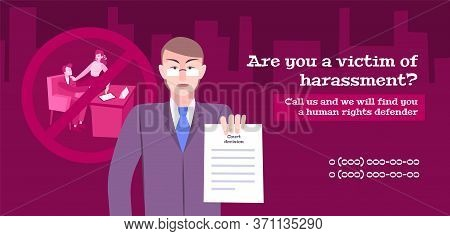 Harassment Complaint Law Flat Horizontal Banner With Composition Of Human Characters With Text And P