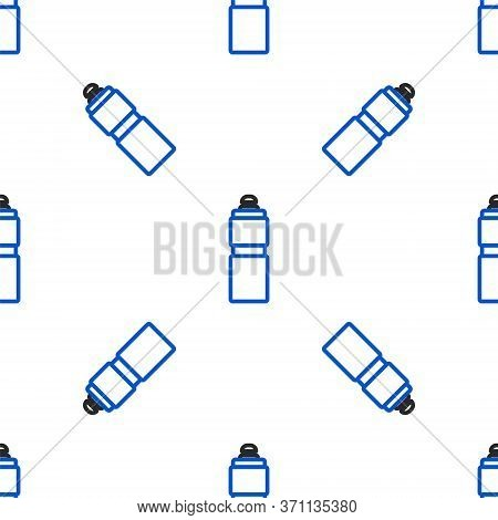 Line Fitness Shaker Icon Isolated Seamless Pattern On White Background. Sports Shaker Bottle With Li