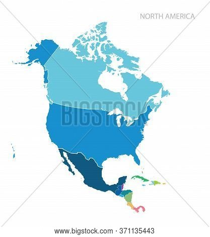 Isolated Color Map Of North America. Vector.