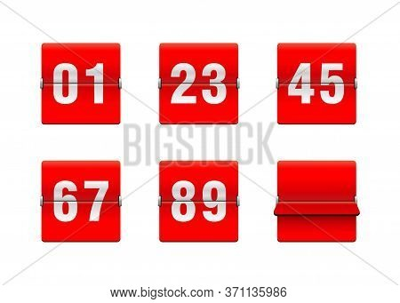 Flip Countdown Clock With Two-digit Number - Red Counter Timer, Time Remaining Count Down Scoreboard