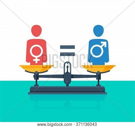 Gender Equality Concept - Weighing Scales - Balanced People Icons With Mars And Venus Symbols Inside