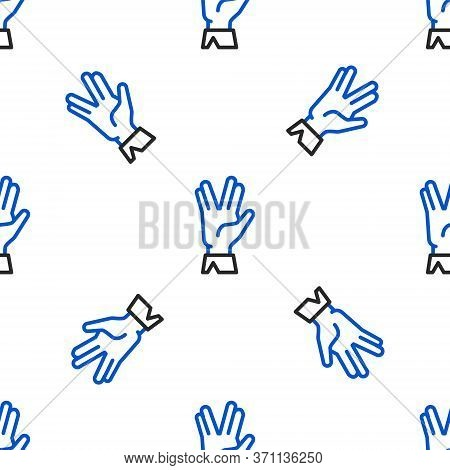 Line Vulcan Salute Icon Isolated Seamless Pattern On White Background. Hand With Vulcan Greet. Spock
