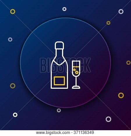 Line Champagne Bottle And Glass Of Champagne Icon Isolated On Blue Background. Merry Christmas And H