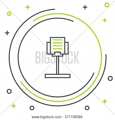Line Music Stand Icon Isolated On White Background. Musical Equipment. Colorful Outline Concept. Vec