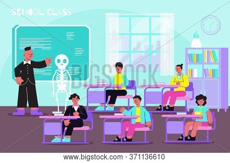 School Anatomy Lesson Flat Composition With Teacher At Electronic Boord Explains Skeleton Muscular B