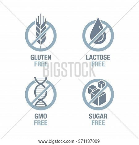 Sugar Free, Gluten Free, Lactose Free, Gmo Free - Set Of Vector Attention Tags - Food Cover Decorati