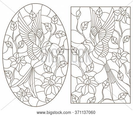 Set Of Contour Illustrations Of Stained Glass Windows With Swallows Against The Sky And Trees, Dark