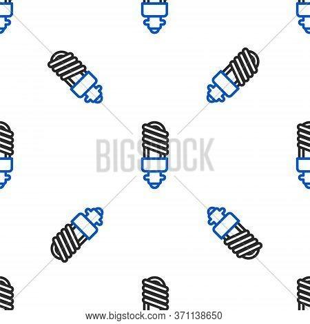Line Led Light Bulb Icon Isolated Seamless Pattern On White Background. Economical Led Illuminated L