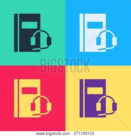 Pop Art Audio Book Icon Isolated On Color Background. Book With Headphones. Audio Guide Sign. Online
