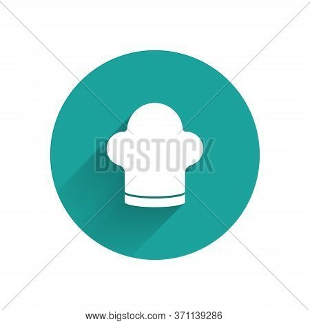 White Chef Hat Icon Isolated With Long Shadow. Cooking Symbol. Cooks Hat. Green Circle Button. Vecto