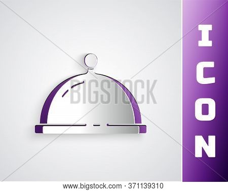 Paper Cut Covered With A Tray Of Food Icon Isolated On Grey Background. Tray And Lid. Restaurant Clo