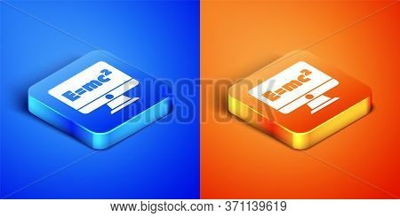 Isometric Math System Of Equation Solution On Computer Monitor Icon Isolated On Blue And Orange Back