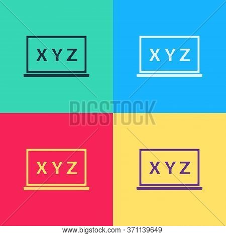 Pop Art Xyz Coordinate System On Chalkboard Icon Isolated On Color Background. Xyz Axis For Graph St