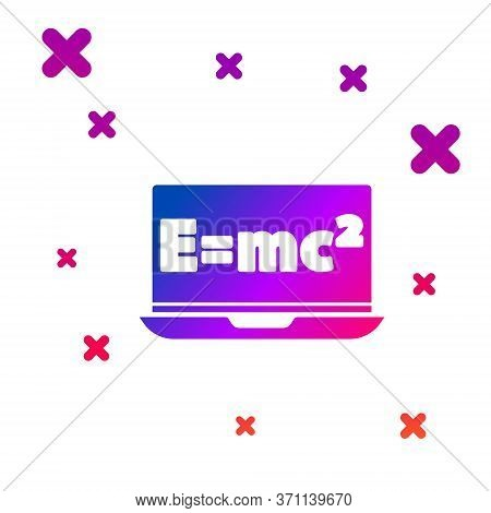 Color Math System Of Equation Solution On Laptop Icon Isolated On White Background. E Equals Mc Squa