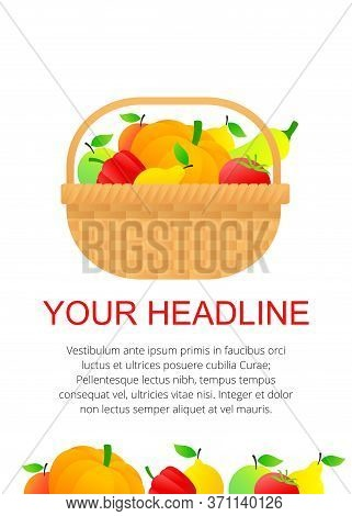 Wicker Basket Full Of Vegetables And Fruits - Vector Template For Autumn Harvest Festivals And Food
