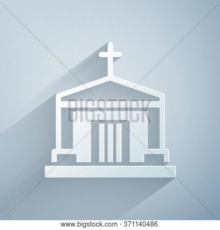 Paper Cut Old Crypt Icon Isolated On Grey Background. Cemetery Symbol. Ossuary Or Crypt For Burial O