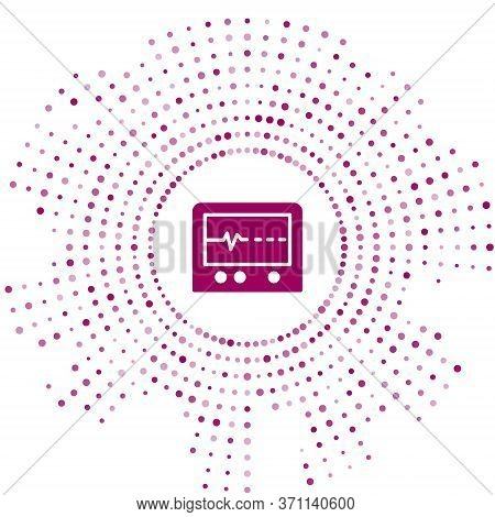 Purple Beat Dead In Monitor Icon Isolated On White Background. Ecg Showing Death. Abstract Circle Ra
