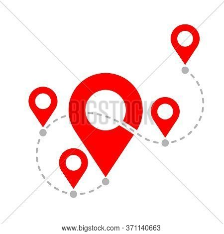 Travel Path - Dotted Curve Line With Geo Markers (pins) And Route Points - Vector Isolated Illustrat