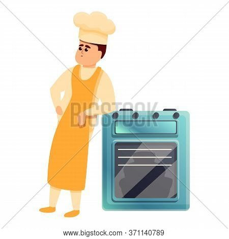 Confectioner Near Oven Icon. Cartoon Of Confectioner Near Oven Vector Icon For Web Design Isolated O