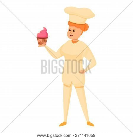 Woman Confectioner Cupcake Icon. Cartoon Of Woman Confectioner Cupcake Vector Icon For Web Design Is