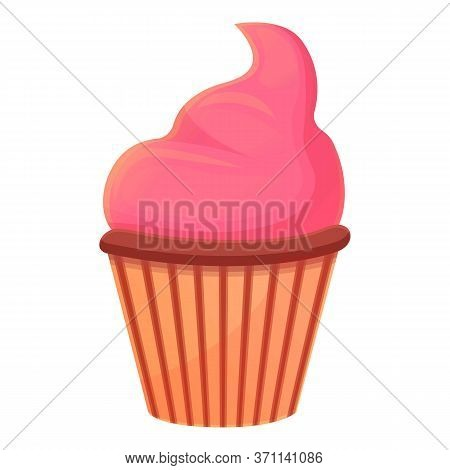 Pink Cream Cupcake Icon. Cartoon Of Pink Cream Cupcake Vector Icon For Web Design Isolated On White