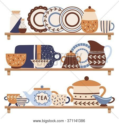 Kitchen Tableware On Shelf. Retro Decorative Ceramic Utensils Or Crockery Such As Plates, Cups, Dish