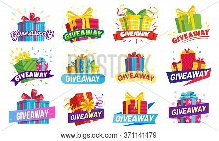 Giveaway Banner, Prize In Colorful Boxes With Ribbons. Special Offer For Gift Winner In Contest. Pre