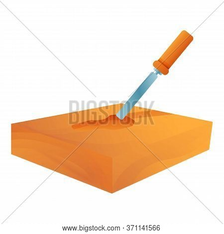 Chisel In Wood Bar Icon. Cartoon Of Chisel In Wood Bar Vector Icon For Web Design Isolated On White
