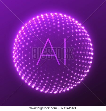 Abstract Ai. Artificial Intelligence 3d Sphere. Futuristic Technology Style. Digital Information Or