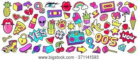 Retro 90s Patches. Cartoon Mouth Lips, Ice Cream, Rainbow, Cherry And Banana Stickers, Nineties Pop