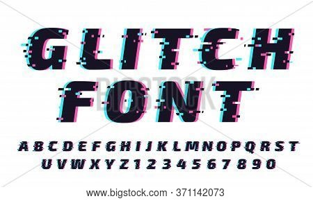 Glitch Font. Letters And Numbers In Trendy And Futuristic Typeface Style. Distortion Alphabet Typese