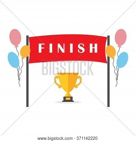 Finish Ribbon With Text Finish With Balloons And A Gold Cup, Vector Illustration In Flat Style On A