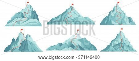 Route To Mountain Peak. Climbing To Mountains With Red Flag On Top. Progress Infographics, Success B
