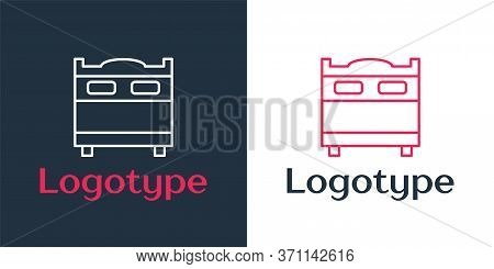 Logotype Line Bedroom Icon Isolated On White Background. Wedding, Love, Marriage Symbol. Bedroom Cre