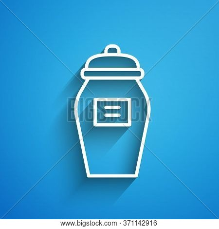 White Line Funeral Urn Icon Isolated On Blue Background. Cremation And Burial Containers, Columbariu