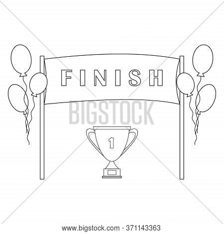Finish Ribbon With Text Finish With Balloons And Gold Cup, Vector Illustration Black Outline White B