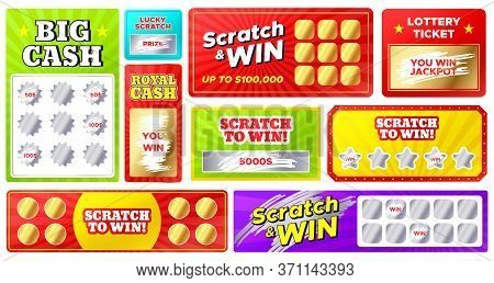 Scratch Cards. Lottery Games Cards With Lucky Winning Tickets And Loser Scratch Marks. Gambling, Fas