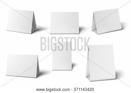 White Table Card Mockup. Desk Calendar. Standing Blank Paper Banners For Greeting Cards Restaurant M