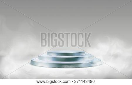Stage Podium In Fog. Empty Pedestal For Award Ceremony, Platform Illuminated By Spotlights, Stage Wi