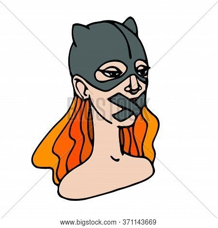 A Young, Cute, Redhead Girl In A Cat Mask With Gag Mouth, Feminist Protest Performance, Color Vector
