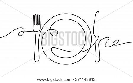 Line Fork, Knife And Plate. Continuous One Line Drawing Cutlery, Cooking Utensils. Hand Drawn Dishwa