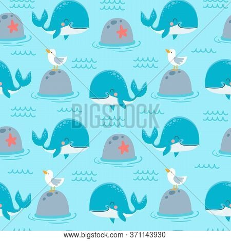 Whales Seamless Pattern. Cute Marine Animals Happy Orca, Blue Whale And Seagull On Stone For Childis