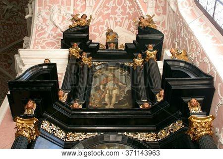 ZAGREB, CROATIA - MAY 16, 2013: Saint Florian, statue on the Altar of Saint Dionysius in the Church of Saint Catherine of Alexandria in Zagreb, Croatia
